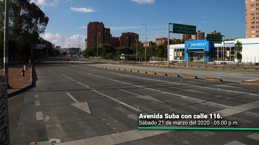 Avenida Suba con calle 116 durante el segundo día del simulacro de aislamiento en Bogotá