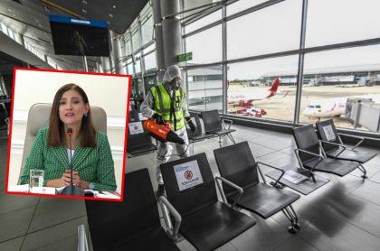 Angela María Orozco, aquí en una alocución del Gobierno, desmiente autorización de rutas internacionales. (Fotomontaje de Pulzo)