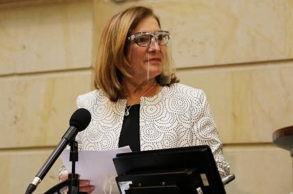 Margarita Cabello, en el Congreso, durante su discurso al aceptar ser la nueva procuradora.