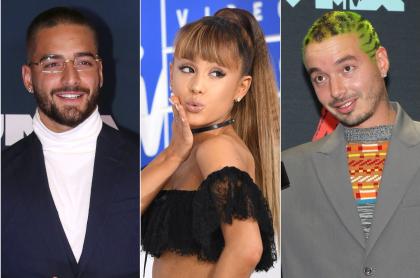 Maluma, Ariana Grande y J Balvin, nominados a los MTV Video Music Awards 2020. Fotomontaje Pulzo.