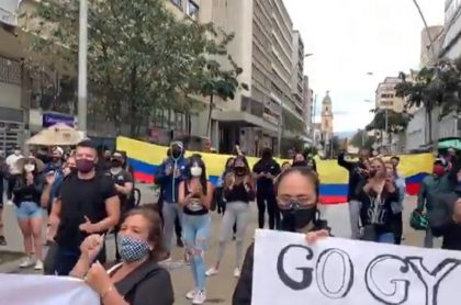 Trabajadores de gimnasios protestan en centro de Bogotá