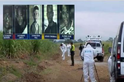 Imagen de los cinco menores masacrados en un cañadulzal en Cali