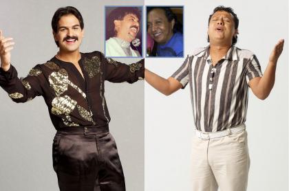 Alejandro Palacio y Rafael Santos, interpretando a Rafael Orozco y Diomedes Díaz (recuadro), de quien se dijeron varias mentiras en 'Rafael Orozco, el ídolo' (fotomontaje Pulzo).