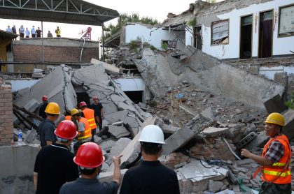 Restaurante se derrumba en Xiangfen, China.