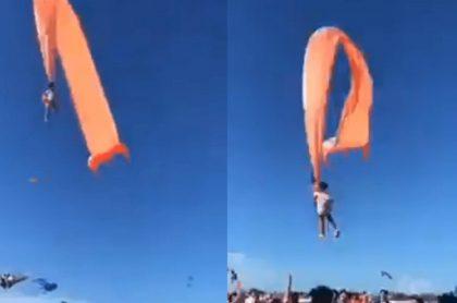 Captura de pantalla de niña volando por los aires, video viral