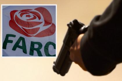 Logo de partido Farc, que denunció el asesinato de 3 de sus militantes este fin de semana en Bolívar / Imagen de referencia de hombre con una pistola.