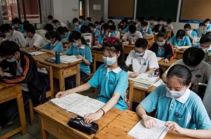 Salon de clases en uno de los colegios de Wuhan, China.