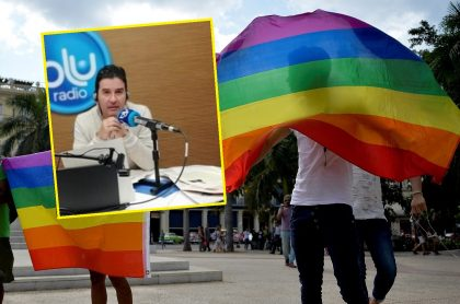 Fotos de banderas de la comunidad LGBTI y Néstor Morales
