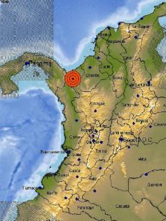 Ubicación del Temblor del 2 de septiembre en Colombia.