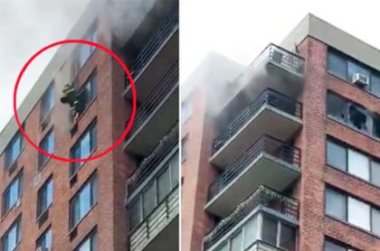 Captura de pantalla que muestra a bombero salvando a mujer atrapada en piso 16 en Nueva York