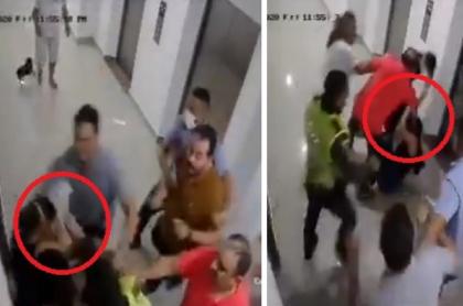 Video de la golpiza de vecinos a pediatra y su empleada por pedir que bajaran volumen en fiesta, en Barranquilla.
