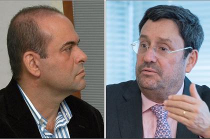Salvatore Mancuso (en una comparecencia en la Fiscalía en 2006) y Francisco Santos (hablando en la embajada en Washington, en 2018).