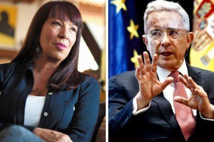 María Jimena Duzán, quien denunció campaña de desprestigio en su contra, y Álvaro Uribe, objeto de críticas en columna de revista Semana, 'Uribe, el fascista'.