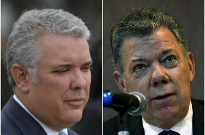 Iván Duque, que no nombra a Juan Manuel Santos, y el expresidente. (Fotomontaje de Pulzo)
