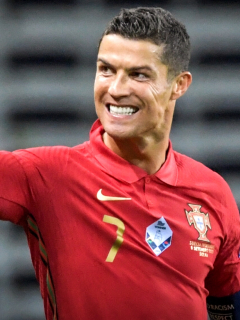 Portugal's forward Cristiano Ronaldo celebrates scoring the opening goal, his 100th goal for Portugal, during the UEFA Nations League football match between Sweden and Portugal on September 8, 2020 in Solna, Sweden. (Photo by Janerik HENRIKSSON / TT NEWS AGENCY / AFP) / Sweden OUT