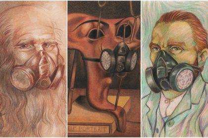 Obras representativas de Da Vinci y Van Gogh usando tapabocas.