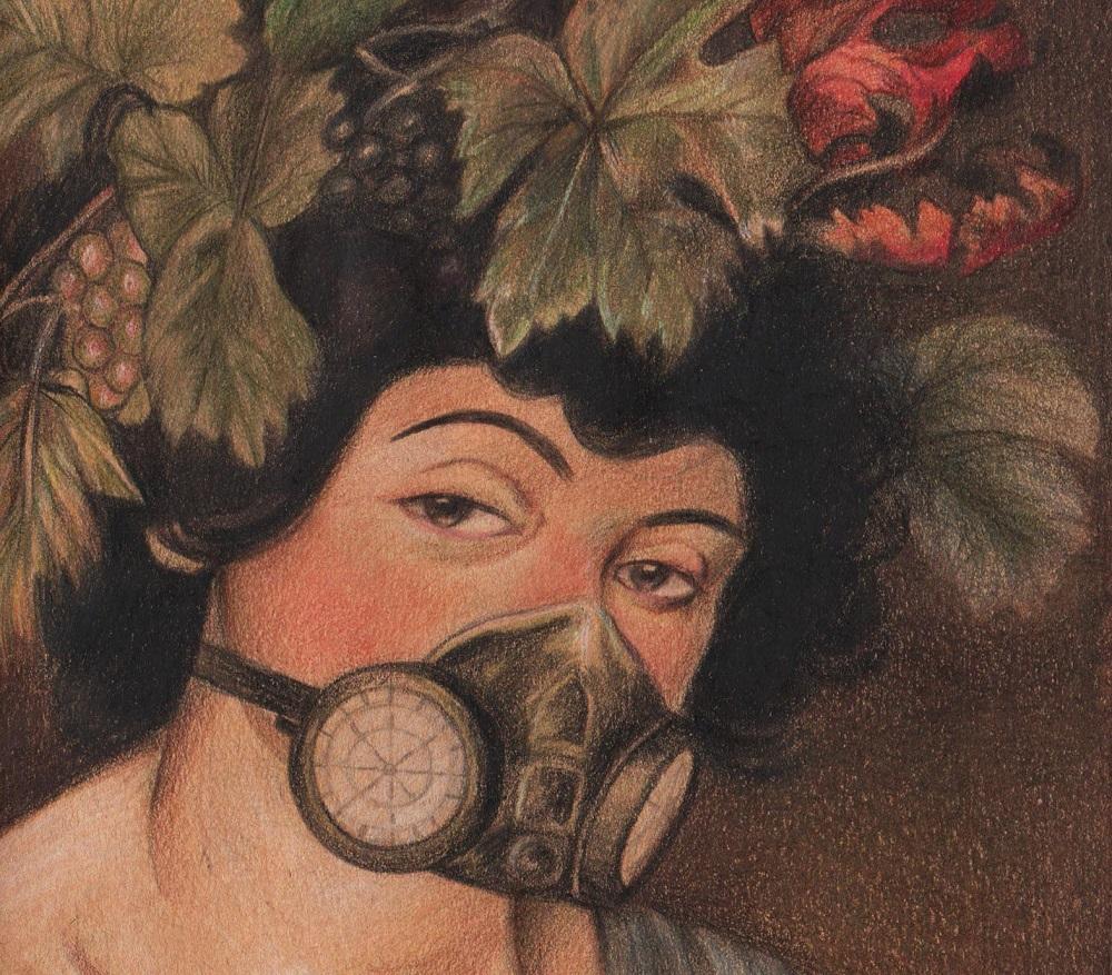 Obra de Caravaggio con tapabocas.