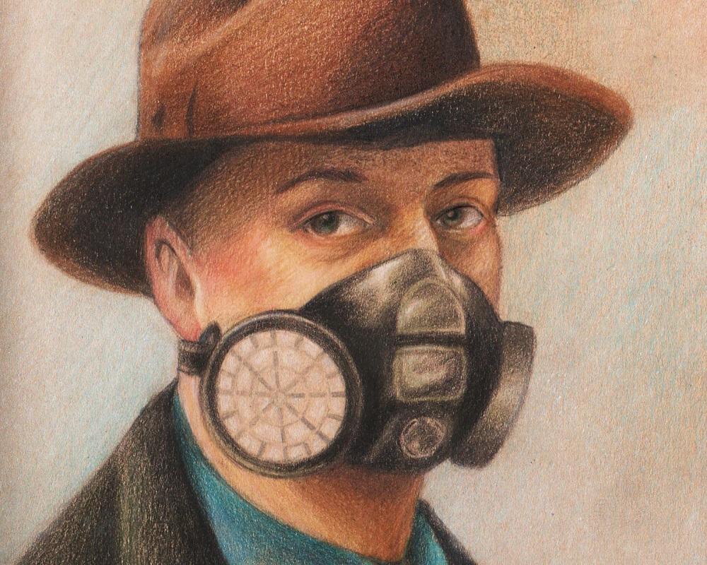 Obra de Edward Hopper  con tapabocas.