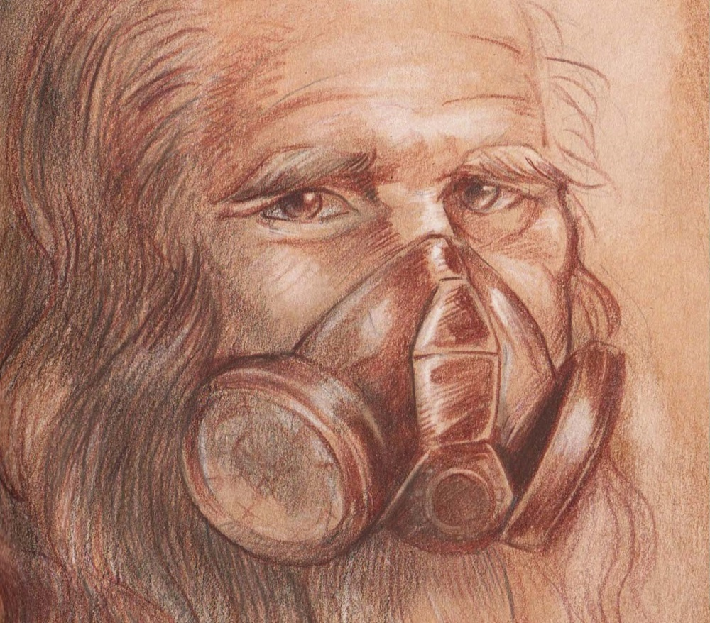 Obra de Leonardo da Vinci con tapabocas.