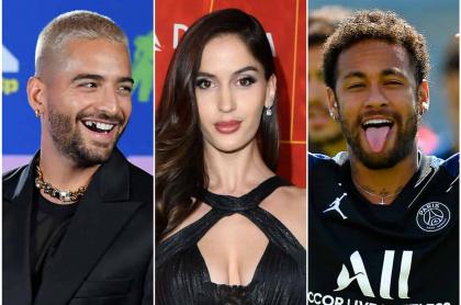 Fotomontaje de Maluma, Natalia Barulich y Neymar, a propósito de que molestan al cantante con la pareja por nuevo corte de pelo