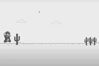 Truco para cambiar al dinosaurio del juego de Google Chrome por Mario Bros.
