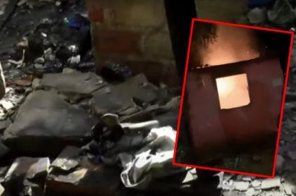 Imágenes de la casa que terminó incendiada después de una pelea en Riohacha (fotomontaje de Pulzo).