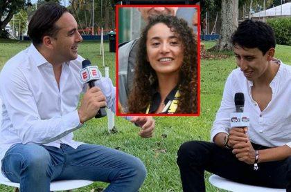 Mario Sabato entrevistando a Egan Bernal, quien se metió en el cruce en redes que tuvo su exnovia con el relator del Tour de Francia en ESPN