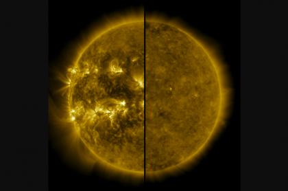 Imagen del Sol activo y el Sol tranquilo para ilustrar nota sobre el inicio del ciclo solar 25