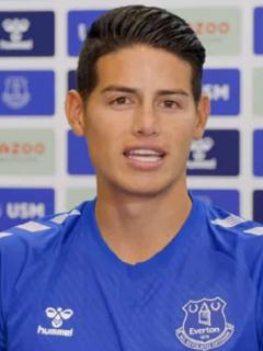James Rodríguez en su presentación como jugador del Everton, equipo al que llegó gratis según reveló Banfield de Argentina