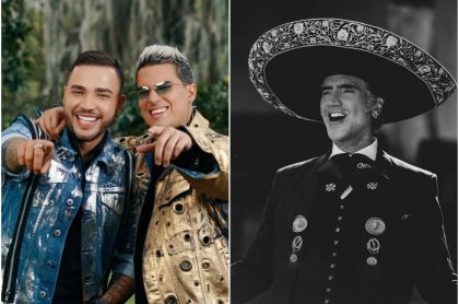 Fotomontaje de Jessi Uribe, Pipe Bueno y Alejandro Fernández, a propósito de sus estrenos musicales