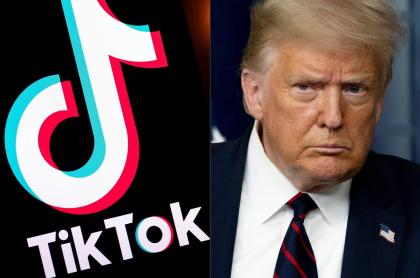 Logo de TikTok al lado del Donald Trump