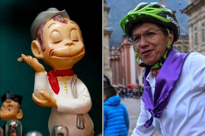 Muñeco del popular personaje mexicano Cantinflas, al lado de Claudia López.