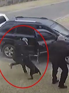 Captura de pantalla del  momento en que perra se abalanza sobre ladrón que amenaza a su amo