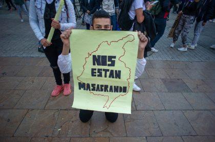 Imagen de pasadas protestas en Bogotá; las de hoy tienen tienen asía Transmilenio y la movilidad