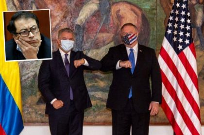 Foto de reunión del presidente Iván Duque con el secretario de Estado, Mike Pompeo, al que Gustavo Petro le mandó un trino denunciando masacres.