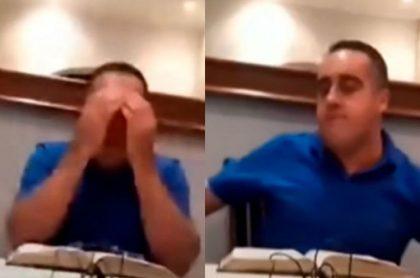 """Edson Araujo, religioso brasileño, agredió a su esposa en plena transmisión en vivo y luego predicó """"la paz del señor"""" antes sus fieles."""