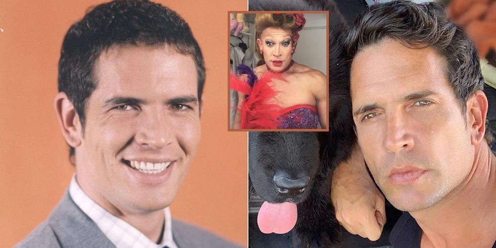 Diego Ramos cuando hizo de Sandro Billycich en 'Pedro, el escamoso', en 'Casa Valentina' vestido de mujer, y en una selfi de 2019.