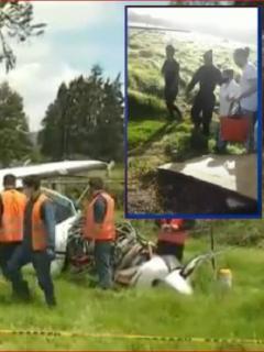 Imagen de cómo quedó el avión luego del accidente, en el norte de Bogotá