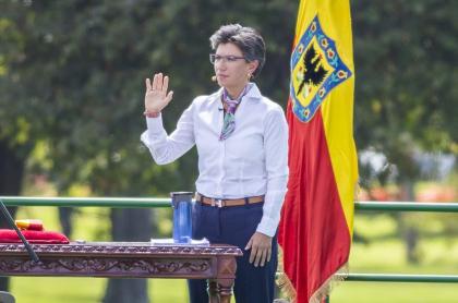 La alcaldesa de Bogotá, Claudia López, durante su acto de posesión.