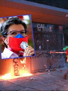 Claudia López e imagen de disturbios en Bogotá, en los que participó el Eln. (Fotomontaje de Pulzo)