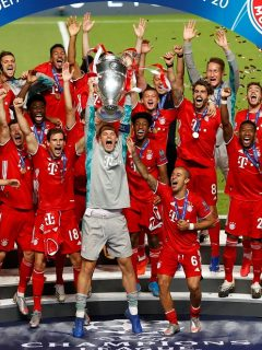 Bayern Múnich celebrando su título de la Champions League, equipo que juega este jueves contra el Sevilla por la Supercopa de Europa