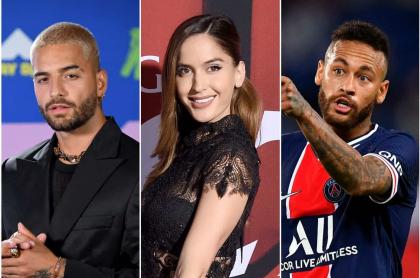 Maluma, Natalia Barulich y Neymar, famosos envueltos en un supuesto triángulo amoroso. Fotomontaje Pulzo.