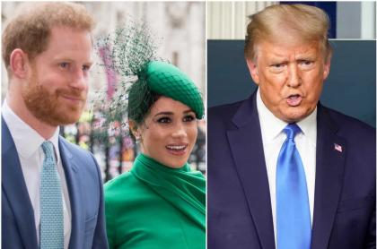 El príncipe Harry, Meghan Markle y Donald Trump, presidente de Estados Unidos que arremetió contra ellos por invitar a votar en las próximas elecciones.