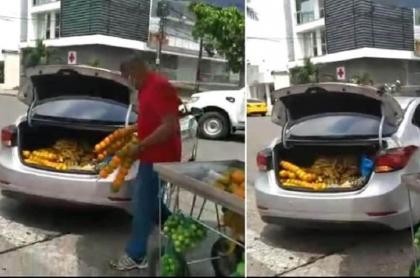 Conductor de carro se lleva plante de vendedor ambulante que le pegó a su vehículo