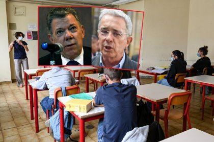 Imágenes de estudiantes, de Juan Manuel Santos y de Álvaro Uribe ilustran nota sobre tarea sesgada con pusieron en Envigado. (Fotomontaje de Pulzo)