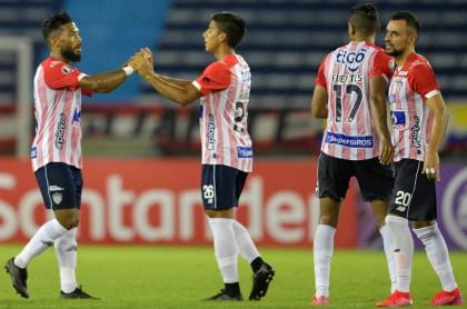 Junior de Barranquilla luego de vencer 4-1 a Independiente del Valle en Copa Libertadores. Imagen de referencia.