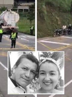 Accidente de tránsito en vía Pereira-Armenia, donde murieron esposos Hárold Peña y Elizabeth Gómez (recuadro del centro) este 26 de septiembre.