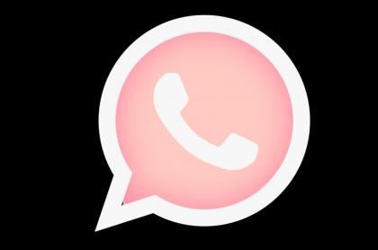 Imagen del logo de WhatsApp rosado.