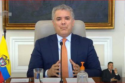 Imagen del presidente Iván Duque, que anunció la extensión del aislamiento selectivo a octubre