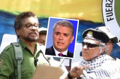 'El Paisa', 'Iván Márquez' y 'Jesús Santrich', que le piden la renuncia a Iván Duque. (Fotomontaje de Pulzo)